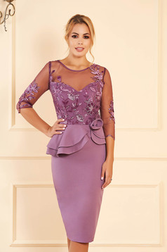 Purple dress occasional midi pencil peplum with sequin embellished details with inside lining with embroidery details