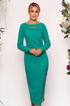 StarShinerS green scuba pencil dress long sleeved cut-out bust design