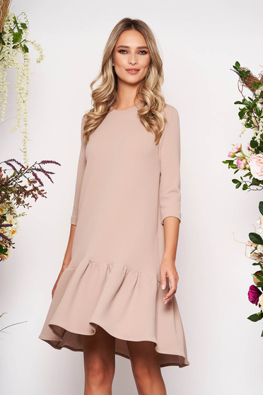 StarShinerS cappuccino daily dress with easy cut with 3/4 sleeves with ruffles at the buttom of the dress