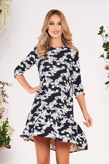 StarShinerS darkblue daily dress with easy cut with 3/4 sleeves with ruffles at the buttom of the dress