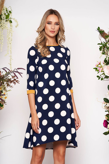 StarShinerS darkblue daily flared dress 3/4 sleeve slightly elastic fabric dots print