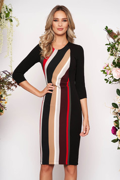 StarShinerS black office midi pencil dress 3/4 sleeve slightly elastic fabric with stripes