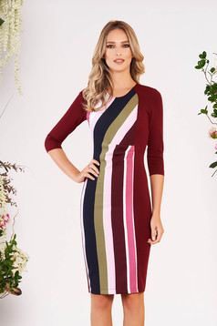 StarShinerS burgundy office midi pencil dress 3/4 sleeve slightly elastic fabric with stripes