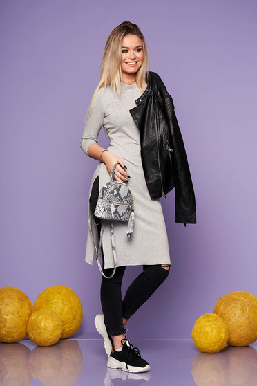 StarShinerS grey casual with tented cut long women`s blouse from elastic fabric