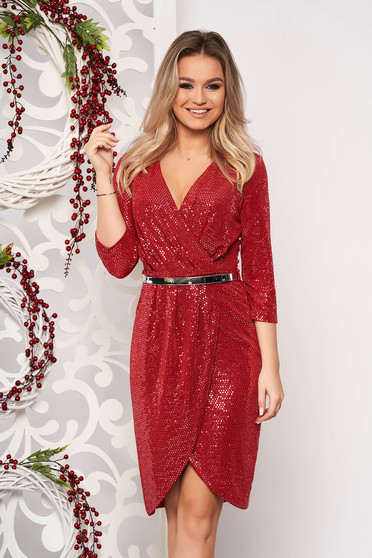 Burgundy dress occasional midi pencil with v-neckline short sleeves with sequins