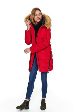Red jacket casual midi from slicker the jacket has hood and pockets with faux fur accessory