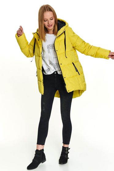 Yellow jacket casual midi from slicker asymmetrical with pockets with undetachable hood