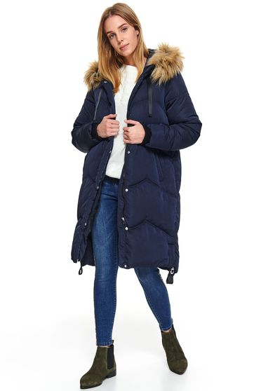 Darkblue jacket casual midi from slicker the jacket has hood and pockets