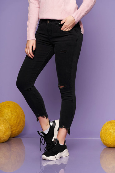 Black skinny jeans jeans medium waist slightly elastic cotton