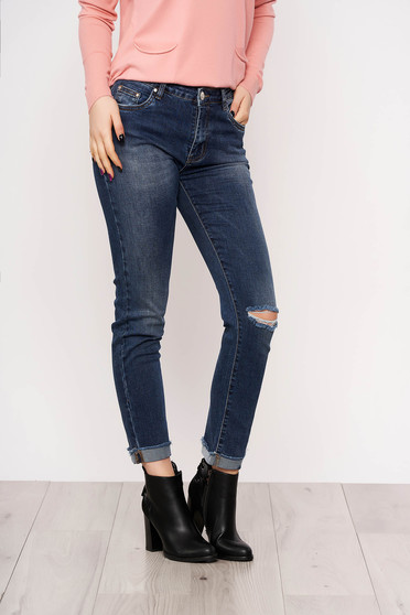 Blue skinny jeans jeans medium waist slightly elastic cotton