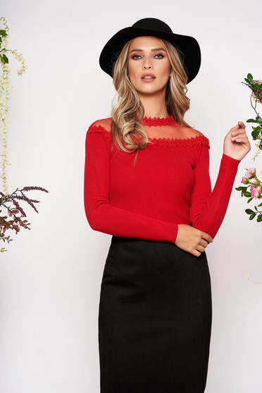 Red women`s blouse knitted fabric from laced fabric with tented cut long sleeve