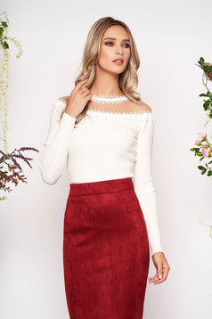 White women`s blouse knitted fabric from laced fabric with tented cut long sleeve