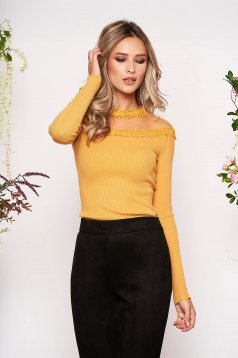 Mustard women`s blouse knitted fabric from laced fabric with tented cut long sleeve