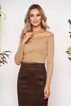 Cappuccino women`s blouse knitted fabric from laced fabric with tented cut long sleeve
