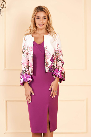 StarShinerS purple elegant flared jacket from satin fabric texture with bell sleeve