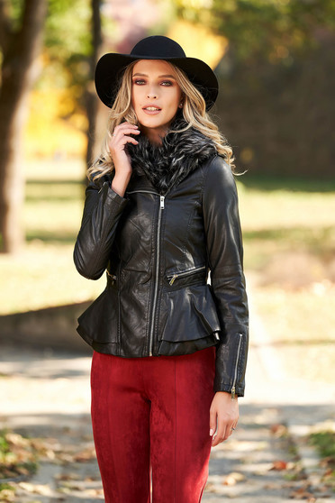 Black jacket from ecological leather arched cut fur collar with faux fur lining
