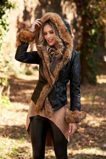 Black short cut jacket from ecological leather arched cut with faux fur details