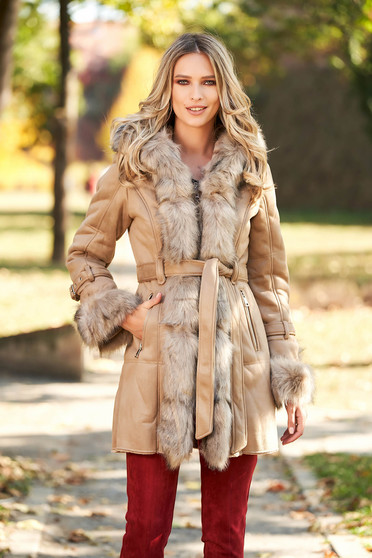 Cappuccino jacket from velvet fabric with faux fur lining arched cut accessorized with tied waistband