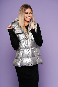 Silver casual gilet from slicker with undetachable hood from shiny fabric