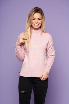 Lightpink casual sweater with easy cut knitted fabric long sleeve