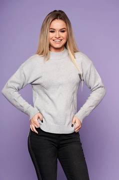 Grey casual sweater with easy cut knitted fabric long sleeve