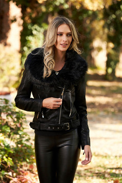 Black casual short cut jacket from ecological leather fur collar with pockets with inside lining