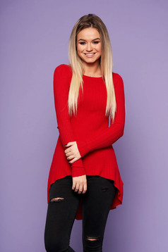 Red casual asymmetrical women`s blouse knitted fabric long sleeved