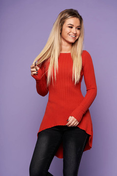 Bricky casual asymmetrical women`s blouse knitted fabric long sleeved