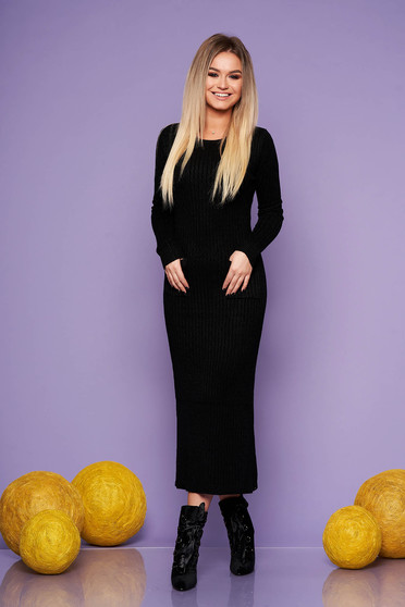 Black daily long dress knitted fabric with tented cut
