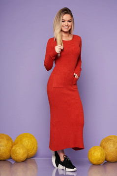 Bricky daily long dress knitted fabric with tented cut
