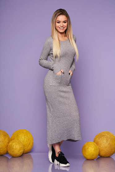 Grey daily long dress knitted fabric with tented cut