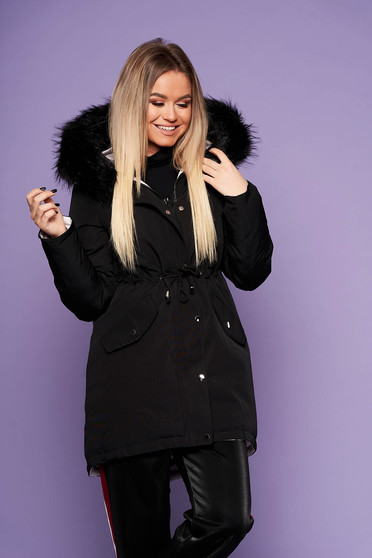 Black casual jacket with easy cut with undetachable hood with faux fur accessory is fastened around the waist with a ribbon with inside lining