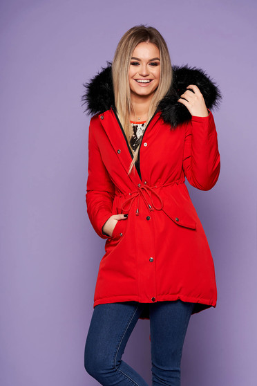 Jacket red casual with easy cut with undetachable hood with faux fur accessory is fastened around the waist with a ribbon with inside lining double-faced