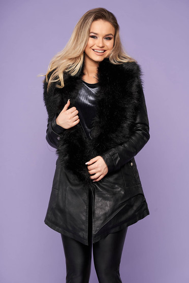 Black jacket from ecological leather with faux fur lining arched cut detachable collar