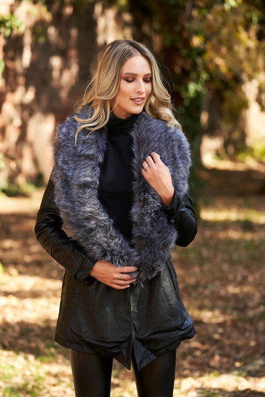 Grey jacket from ecological leather with faux fur lining arched cut detachable collar