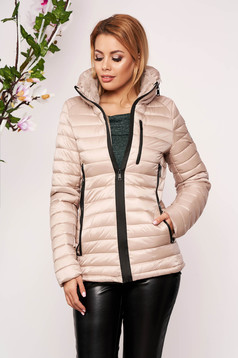 Cream casual jacket from slicker with thin fur lining arched cut