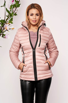 Lightpink casual jacket from slicker thin fur lining arched cut