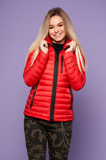 Red casual jacket from slicker thin fur lining arched cut