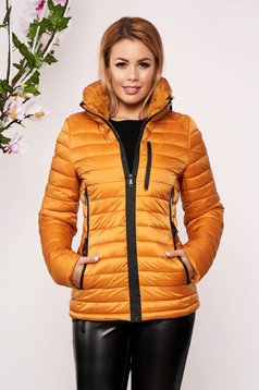 Mustard casual jacket from slicker thin fur lining arched cut