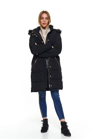 Black jacket casual midi from slicker with turtle neck with pockets detachable hood accessorized with belt