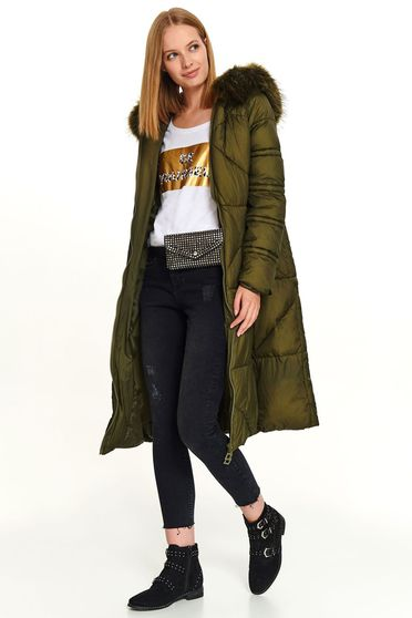 Green jacket long casual from slicker with pockets with furry hood zipper fastening