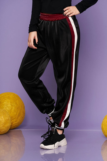 Burgundy casual trousers from shiny fabric with elastic waist
