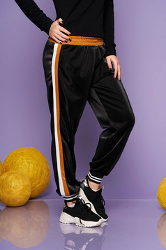 Mustard casual trousers from shiny fabric with elastic waist