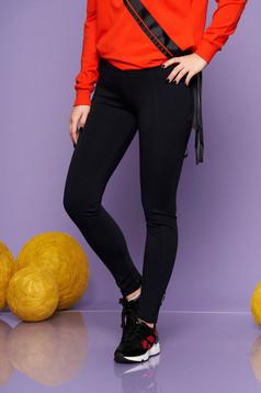 Darkblue casual tights with medium waist from elastic fabric