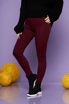 Burgundy casual tights with medium waist from elastic fabric