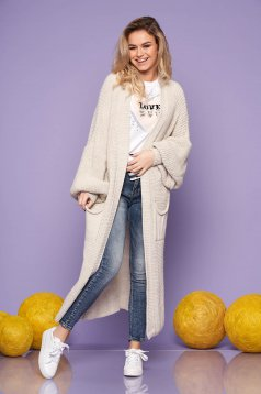 Cream casual long cardigan knitted fabric long sleeved