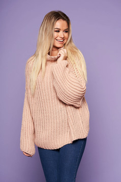 Lightpink flared sweater knitted fabric long sleeved