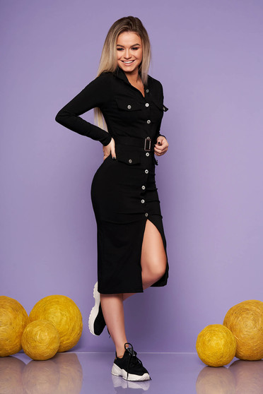 Black daily midi dress with tented cut from elastic fabric accessorized with belt