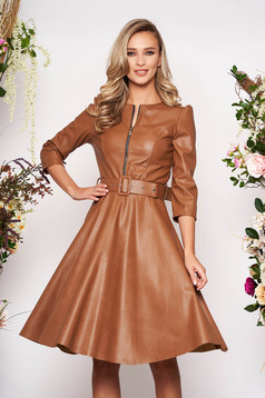 Brown daily dress flaring cut ecological leather accessorized with belt