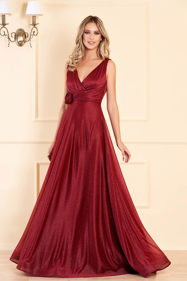 Burgundy long occasional cloche dress with push-up cups with deep cleavage